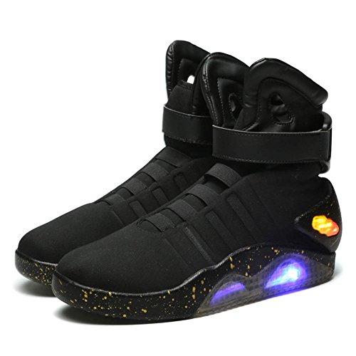 Halloween Marty McFly Schuhe Film Cosplay Kostüm Schwarz Licht Oben Herren Sneakers Sport Stiefel Zubehör (Kostüm Sneaker Halloween)