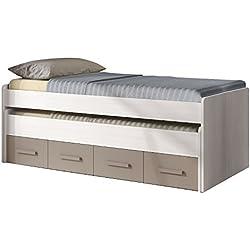 Habitdesign 1S7432K - Cama doble juvenil 2 camas y 2 cajones, acabado Blanco Line y Basalto, medidas 198 x 69 x 96 cm de fondo