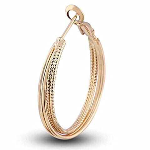 Yazilind Circle Polished Shiny 18K Gold Plated Layered Extra Large Omega Back Hoop Earrings