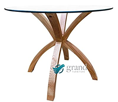 New Phoenix Solid Oak Glass Dining Table Modern Clear Dining Room Furniture