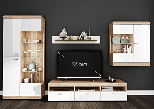 lifestyle4living Wohnzimmerschrank, Wohnwand, Schrankwand, Anbauwand, Fernsehwand, Wohnzimmerschrankwand, Wohnschrank, Lack weiß, Grandson Oak Nachbildung, Eiche