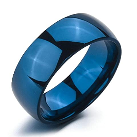 Epinki,Fashion Jewelry Men Women's Wide 8mm Stainless Steel Ringss Band Blue Wedding Polished Size N