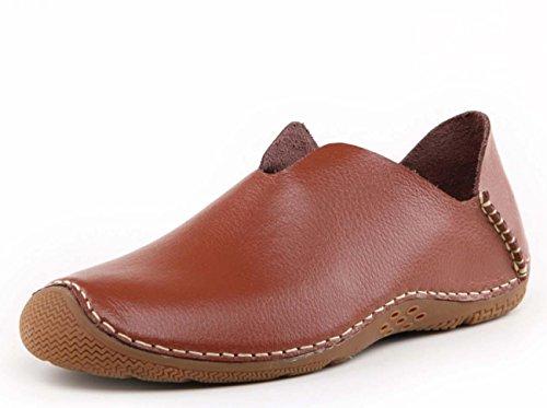 NobS Hommes Cuir caoutchouc Peau Bouche sabots Chaussures Tête ronde Flats respirant Casual Shoes Brown