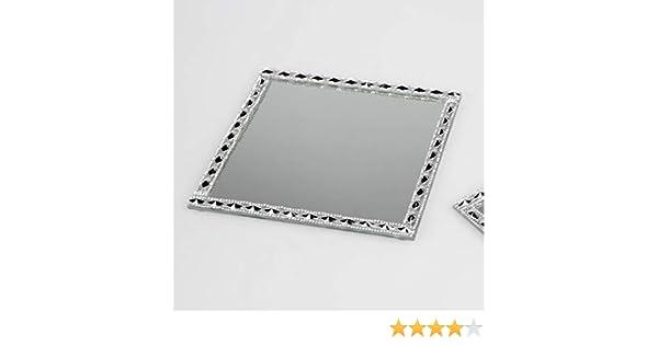 Edles Dekotablett 25x25 cm Spiegelplatte Strass Spiegel Tablett Kerzentablett