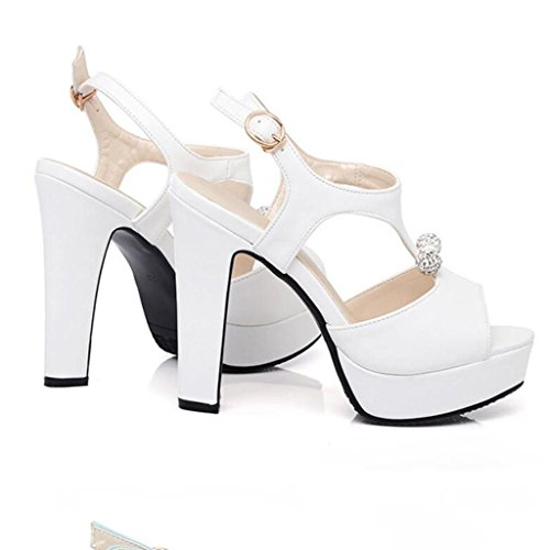 W&LM Signorina Tacchi alti sandali Ruvido Tacchi alti Bocca di pesce Fibbia sandali White