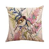Taie d'oreiller en Lin Coton, Malloom Classique Style Chinois Oiseau Arbre imprimé...