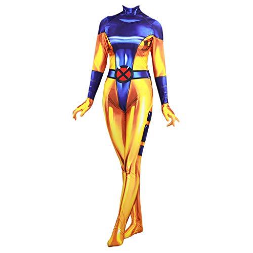 Frau Phantasie Dress kostüm Damen Erwachsenen Overall-Onesies Cosplay Halloween Maskerade Prom Party Geschenk,Gold-XXL ()