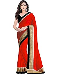 E Shop Online Women's Georgette Sarees With Blouse (CHIKUPATTA YELLOW)