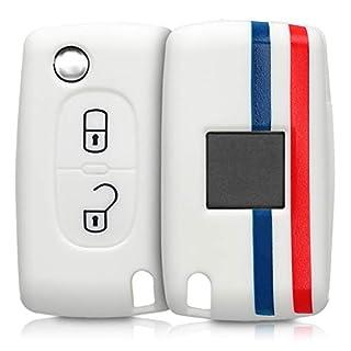 kwmobile Autoschlüssel Hülle für Peugeot Citroen - Silikon Schutzhülle Schlüsselhülle Cover für Peugeot Citroen 2-Tasten Klapp Autoschlüssel Blau Rot Weiß