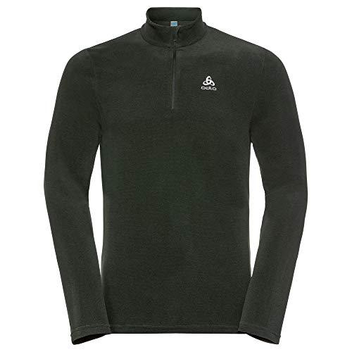 Odlo Herren Midlayer 1/2 Zip Roy Pullover, Black - Climbing ivy - Stripes, XXL Performance-fleece Pullover