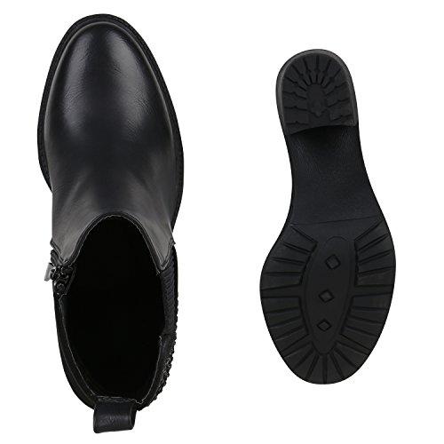 Damen Plateau-Boots Quasten Schleifen Stiefeletten Schwarz Strass
