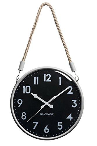 Brandani Corda Horloge Noir/Blanc en métal/Verre, Multicolore, Taille Unique