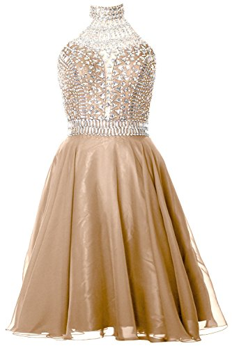 MACloth Gorgeous Halter Prom Homecoming Dress High Neck Cocktail Formal Gown Champagne