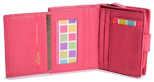 Portafoglio SADDLER da Donna da 11cm a Doppia Piegatura con Portadocumenti e Doppio Portamonete a Zip Rosa (rosa)
