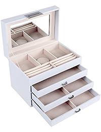 Songmics Caja joyero Organizador para joyas Multiuso 28 x 17,5 x 19 cm JBC131W