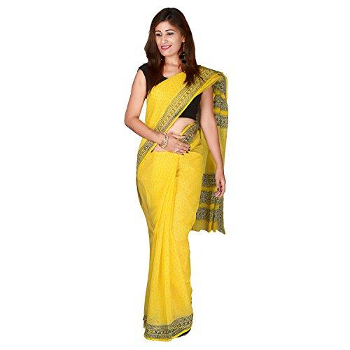 Panvi Kota Doria Cotton Silk Saree (P-28_Hand Block Printed Yellow_Free Size)
