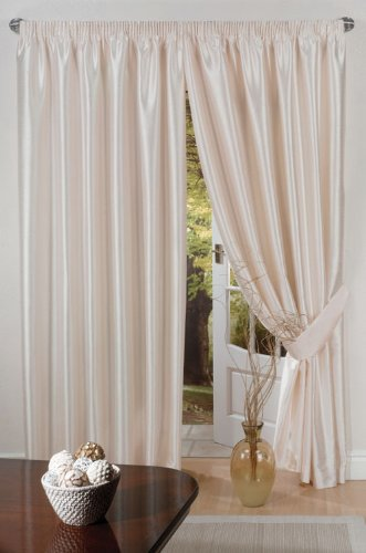 Luxury Faux Silk Slubbed Cream Fully Lined Readymade Curtain Pair 66x72in(167x182cm) Including One Pair Of Co-Ordinating Tiebacks