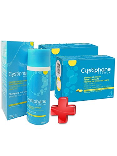 Cystiphane Bailleul- Cystine B6 -Zinc - Arginine - Cheveux et ongles - Santé - Force et Vitalité Protège du stress oxydatif - Complément alimentaire pour cheveux et des ongles fragilisés - Lot de 2 boites de 120 Comprimés + Shampoing