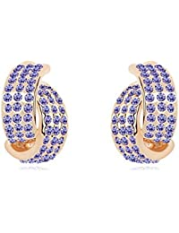 NEVI Stylish Modern Czech Crystals 18K Gold Plated Stud Earrings Jewellery For Women And Girls