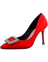 Mujeres Tacones de Aguja Elegante Rhinestone Cuadrado Hebilla Punta Puntera Zapatos sólidos Flock Bombas Poco Profundas