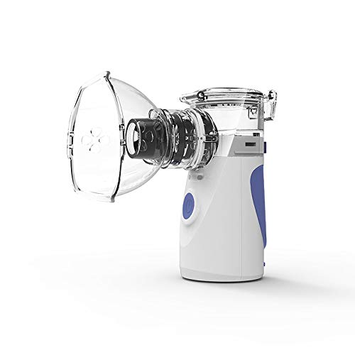 Tragbar Inhalator,Ultraschall Geräuscharmes Vernebler Set für Kinder und Erwachsenen mit 2 Masken und Mundstück Ultraschall Vernebler zur Inhalation bei Erkältungen oder Asthma