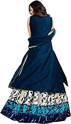 Drashti villa woman's Taffeta Silk Anarkali Gown (BLUE color_Free Size)