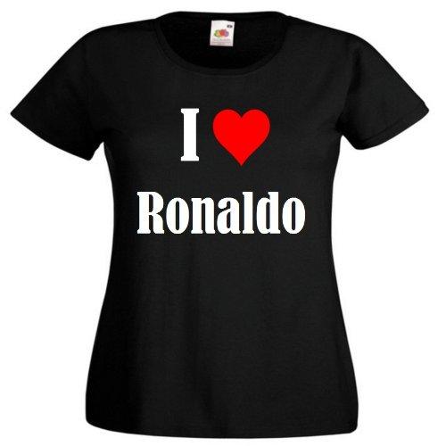 """T-Shirt """"I Love Ronaldo"""" für Damen Herren und Kinder ... in der Farbe Schwarz Schwarz"""