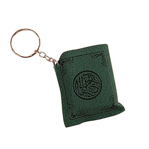 Nuohuilekeji Schlüsselanhänger, kleines Islamisch muslimisches Arche Koran-Buch, Autotasche, Geldbörse, Anhänger, Charm, grün