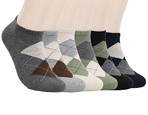 zando-pour-homme-motif-argyle-coton-cheville-chaussettes-fashion-no-show-bateau-confort-coussin