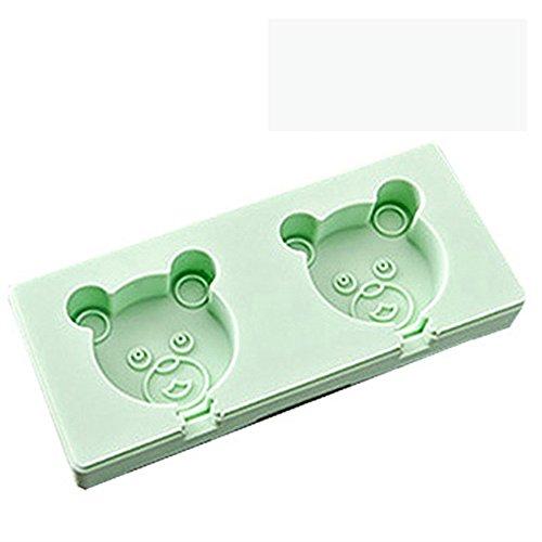 NEWELL DIY Silikon Popsicle Formen Set, selbstgemachtes Eiscreme-Eis am Stiel, Grüner Bär (Et Bürste, Holzstäbchen)