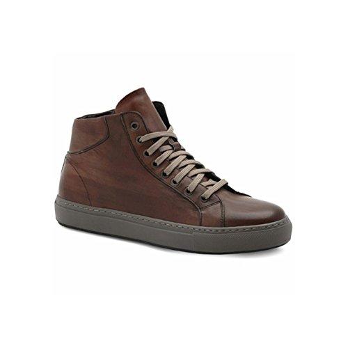 Exton sneaker alta uomo in pelle marrone cuoio, 43