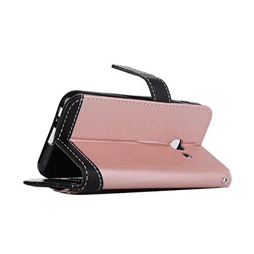 Bookstyle Horizontale Flip Stand Case Litchi Texture Dual Farbe genäht PU Leder Tasche mit Lanyard & Niet Button für Samsung Galaxy A3 2017 ( Color : Blue ) Pink