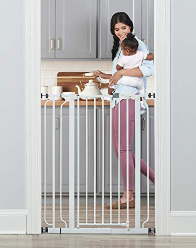 Regalo Easy Step Walk Thru Baby Safety Gate Pressure Mount, White