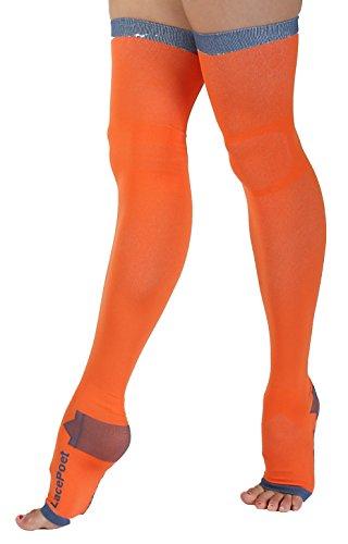 Dichter aus Spitze ohne Finger Kompressionsstrümpfe Yoga/Sleep thigh-high verschiedene Farben, M-L, Orange (Kompressionsstrümpfe High)