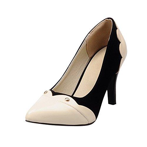 Mee Shoes Damen modern elegant spitz mehrfarbig mit Spitze Nubukleder und PU Pumps mit hohen Absätzen Schwarz