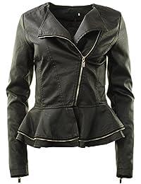 GG neuen Frauen Faux-Leder-Biker Zip Frill Schößchen Damen-Jacken-Mantel