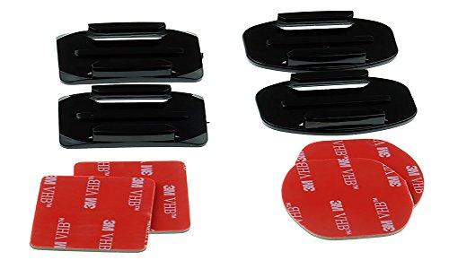 Zubehör Set für Gopro Kleber Mounts 2 × Flach und 2 × Gebogene Halterungen 3M HVB Aufkleber für Gopro Hero, Xiaoyi, SJCAM