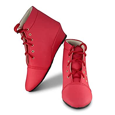 Cattz Women's Red Color Synthitic Leather Long Shoes/Boot for Girls - EU 36 / IND 3