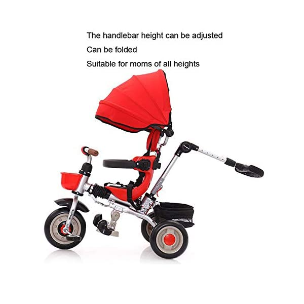 3 In 1 Tricycle 6 Months To 6 Years Folding Sun Canopy 3-Point Safety Belt Childrens Tricycles Blockable Rear Wheels Detachable And Adjustable Push Handle Folding Trike Maximum Weight 25 Kg,Red BGHKFF ★ 3-in-1 multi-function: convertible into stroller and tricycle. Remove the putter and awning as a tricycle. The best choice for 6 months to 6 years. ★ Tricycle foldable, space saving, easy to carry, is the best travel companion ★ Adjustable push rod, the push rod is directly connected to the tricycle handlebar through the steering link, and the parents can use the push rod to control the direction. 3