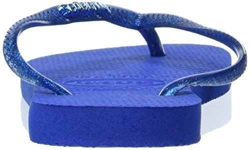 Havaianas Slim Logo Metallic, Sandales Femme Bleu (Blue Star 3847)