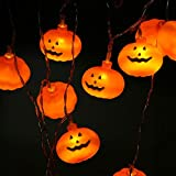 KOBWA Halloween Kürbis String Lichter, 20LED String Lichterkette LED Glühen Lantern Lights Halloween Dekoration Lichter für Indoor Home Dekorationen, Halloween, Weihnachten, Bar - Batteriebetrieben