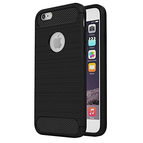 2x Cover iPhone 6s Silicone iPhone 6 Custodia Molle Posteriore Sottile Cassa Gel Gomma Morbida Antishock Bumper Case per iPhone 6/6s Fibra Nero Grigio Nero Grigio