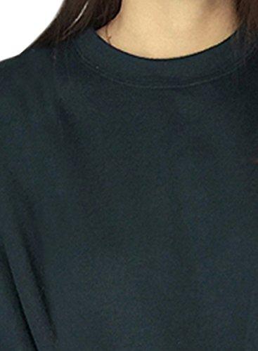 Azbro Women's Solid Color Pullover Batwing Sleeve Sweatshirt Dark Green