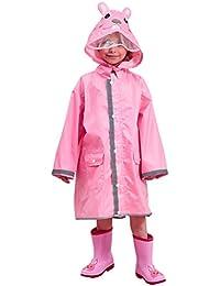 DAWNTUNG Traje de Lluvia Plegable Chubasquero Impermeable con Capucha Niña Dibujo Amimado L 115-135cm Rosa