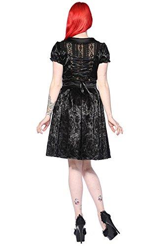Robe noire motif croix laçage au dos gothique aristocrate pin-up Banned Noir