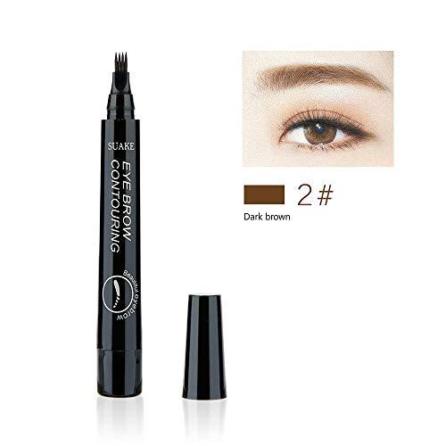 Eyebrow Pen with 4 Colors Long-lasting Waterproof Brow Gel and Tint Dye Cream for Eyes Makeup (Dark brown) -