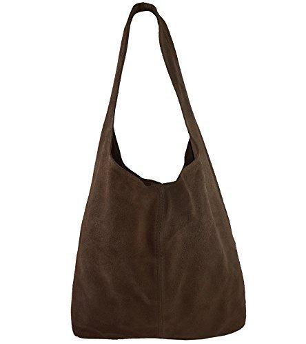 Freyday Damen Ledertasche Shopper Wildleder Handtasche Schultertasche Beuteltasche Metallic look (Nussbraun) -