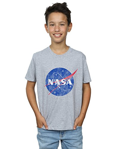 Absolute Cult NASA Niños Classic Insignia Logo Distressed Camiseta Deporte Gris 12-13...