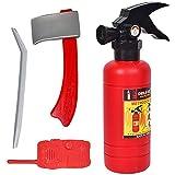 Isuper 4- Teiliges Feuerwehrmann Rucksack Feueranzug Werkzeug und Feuerlöscher für Kinder Rollenspiel Spielzeug