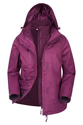 Mountain Warehouse Bracken Melange 3-in-1-Damen-Jacke - wasserfest, verstellbar, atmungsaktiv, versiegelte Nähte, abnehmbare Kapuze Violett 34 DE (36 EU)